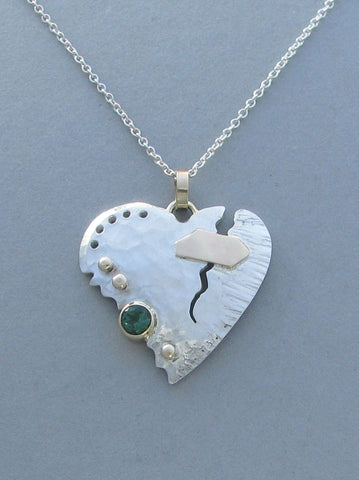 sterling silver heart pendant broken heart gold patch green gemstone