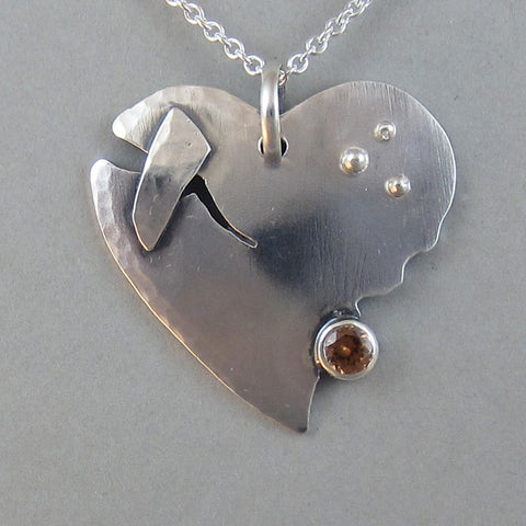 Sterling Pached Broken Heart Pendant with Zircon