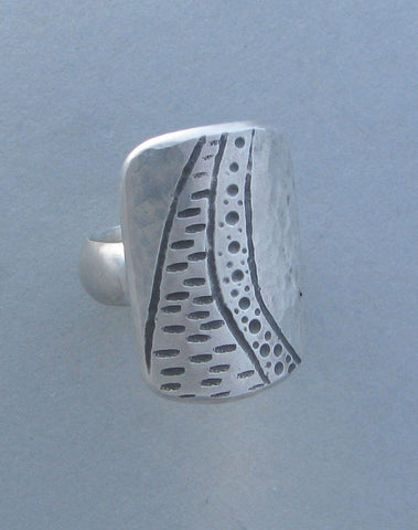 sterling silver cocktail ring stamped deesign