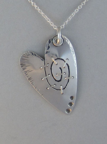 sterling silver heart pendant necklace whimisical
