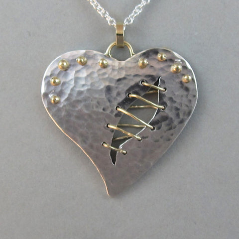 Sterling Heart Pendant Necklace, Gold Heart Pendant Necklace