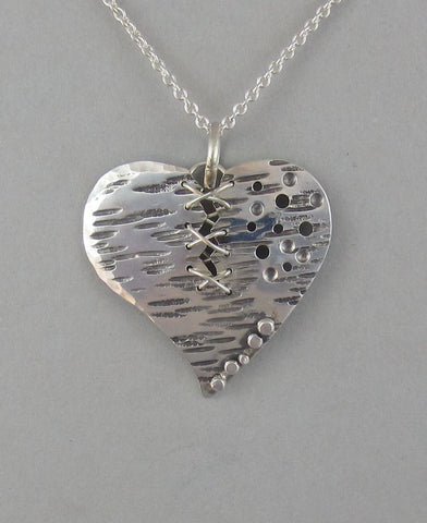 sterling silver heart pendant necklace broken heart
