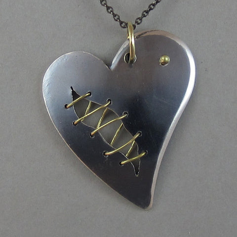 sterling and 18k heart pendant necklace