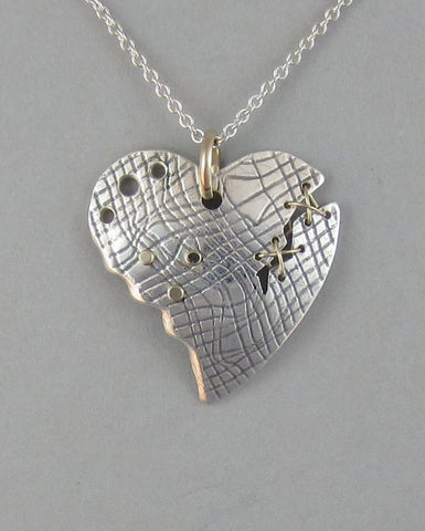 sterling silver heart pendant necklace gold broken heart