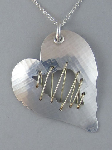 sterling silver heart pendant necklace open wound gold