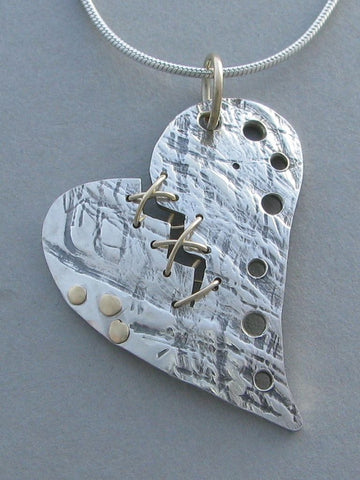 Sterling Stitched Broken Heart Pendant
