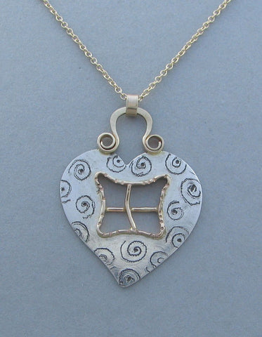 sterling silver heart pendant necklace window to my soul with gold