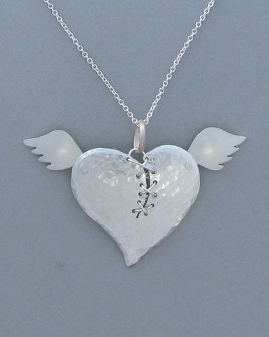 sterling silver heart pendant necklace wings