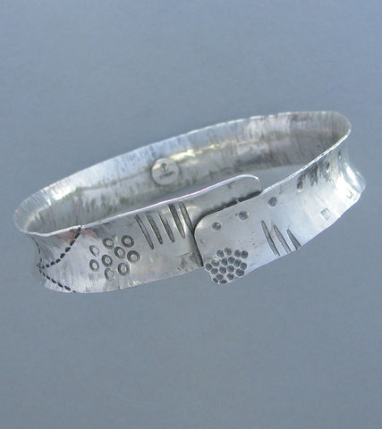 sterling silver stamped bangle bracelet