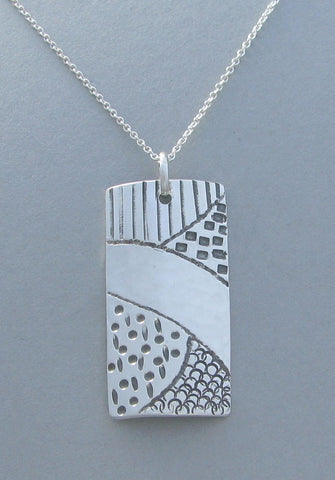 sterling silver shield pendant necklace stamped design