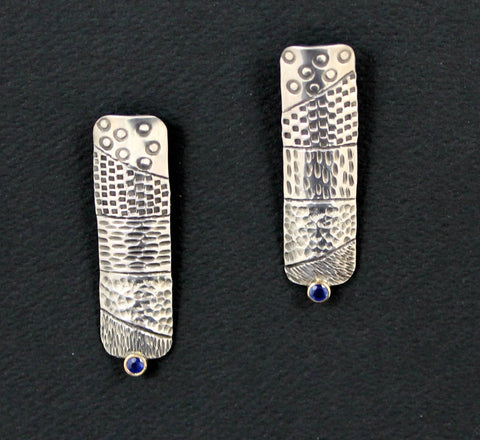 Sterling Silver Stamped and Chased Post Earrings with Blue Sapphire and 14k Gold Bezel