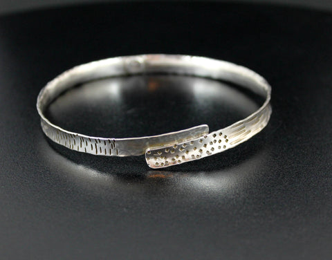 Sterling SIlver Narrow Shield Bangle - Size Large