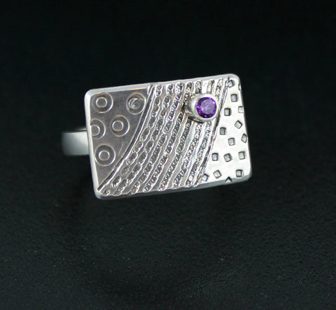 Sterling Silver Small Stamped Shield Ring - Adjustable - with Amethyst