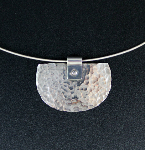 Sterling Silver Hammered Shield Pendant on a Silver Wire Choker