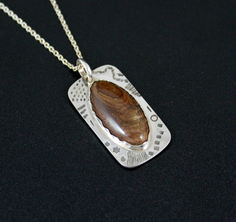 Sterling Silver Stamped Shield Pendant - with Brown Jasper Cabochon
