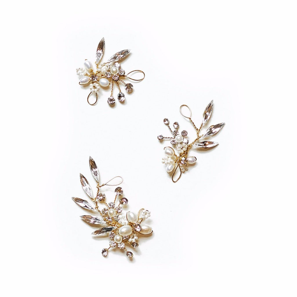 crystal gold bridal hairpins