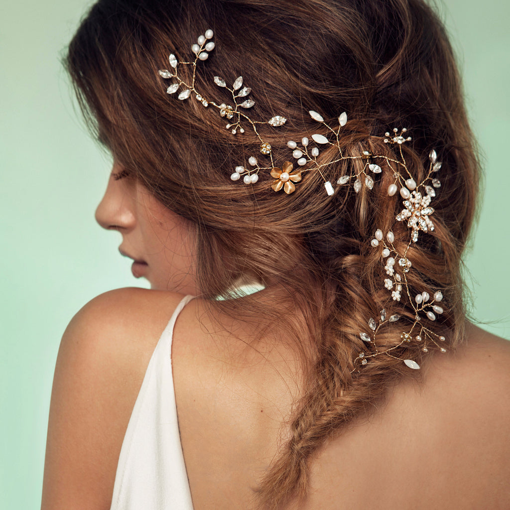 Brisk Breeze Hair Vine - crystal and gold bridal headpiece