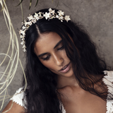 porcelain flowers and crystal wedding headpiece