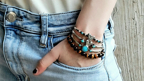 Artisan jewelry stacker bracelets for women turquoise bracelets elastic bracelets womens stretch bracelets southwestern jewelry western accessories genuine turquoise real sterling silver jewelry