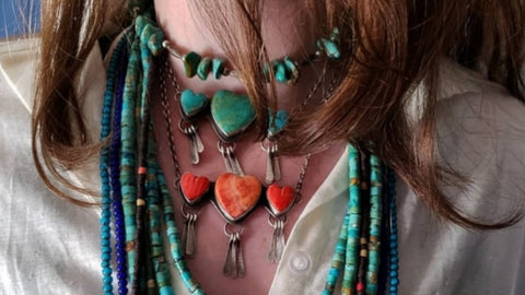 Artisan made jewelry turquoise beads turquoise heart necklace for women genuine gemstone jewelry southwestern jewelry layering necklaces beaded necklace for women long turquoise beads western accessories cowgirl couture real sterling silver jewelry