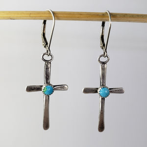 Small silver and turquoise cross lever back earrings