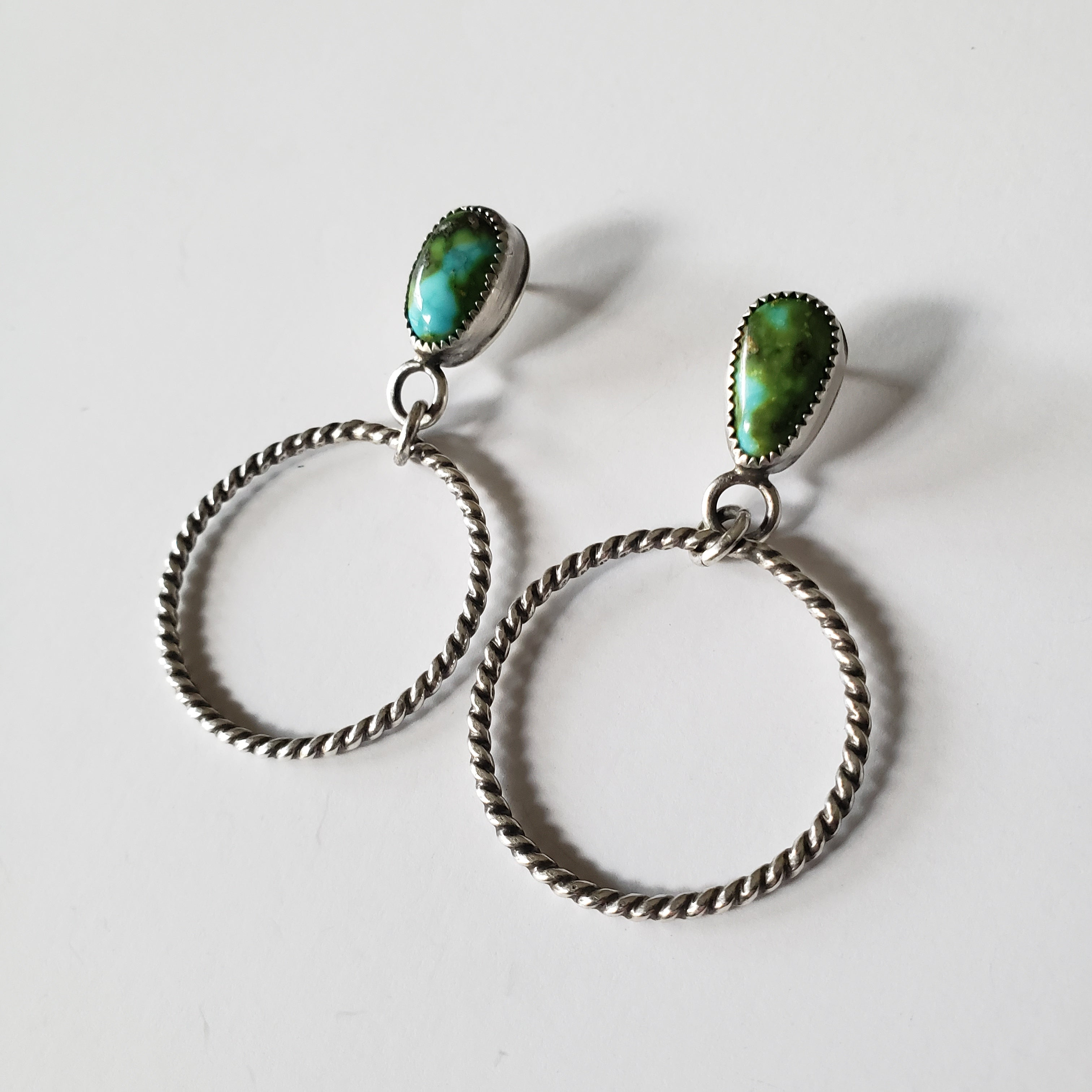 Turquoise hoop earrings