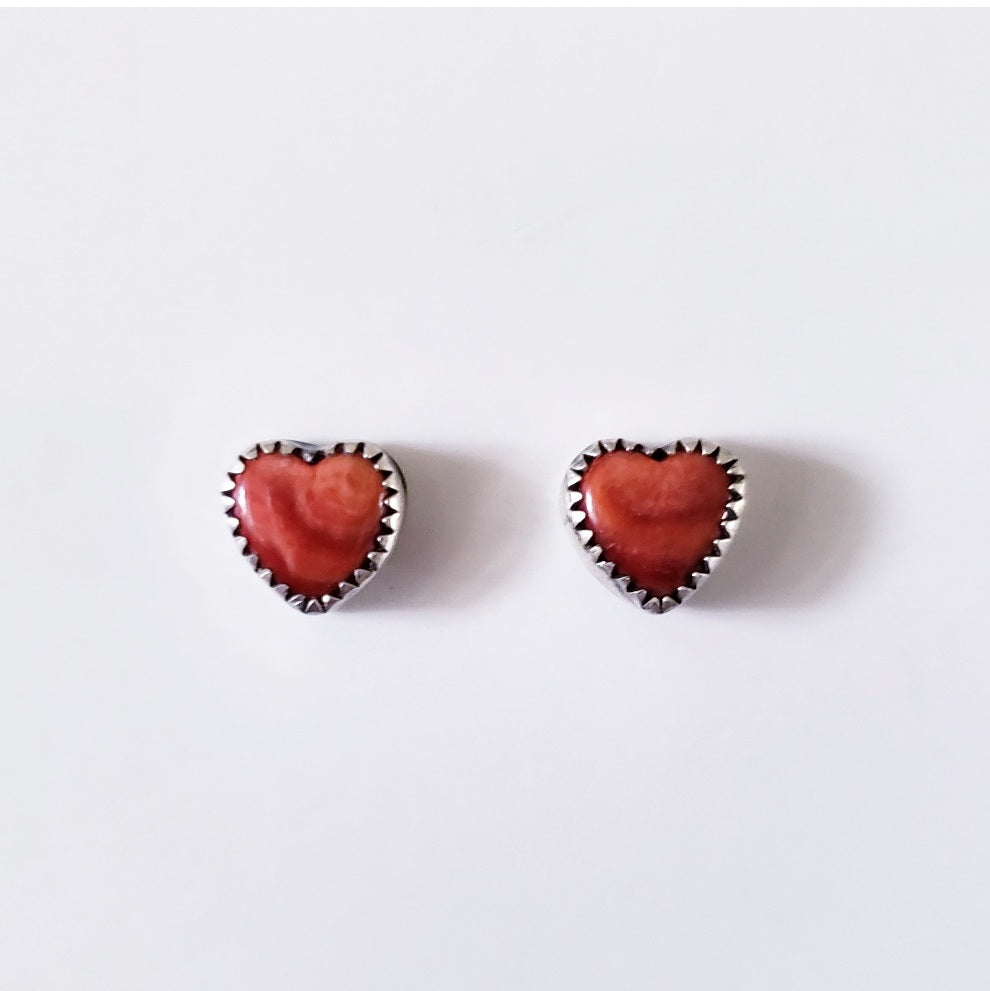 Red spiny oyster heart earrings