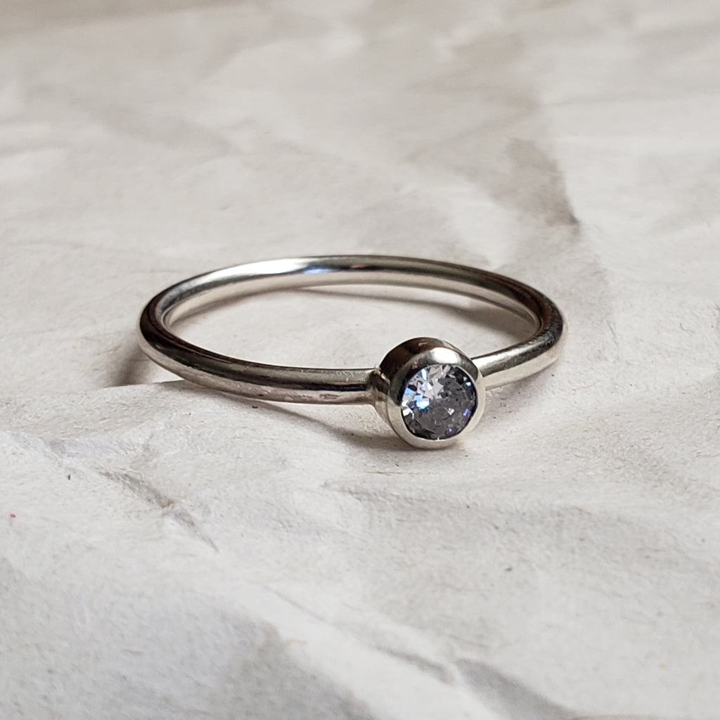 Dainty CZ stacker solitaire ring
