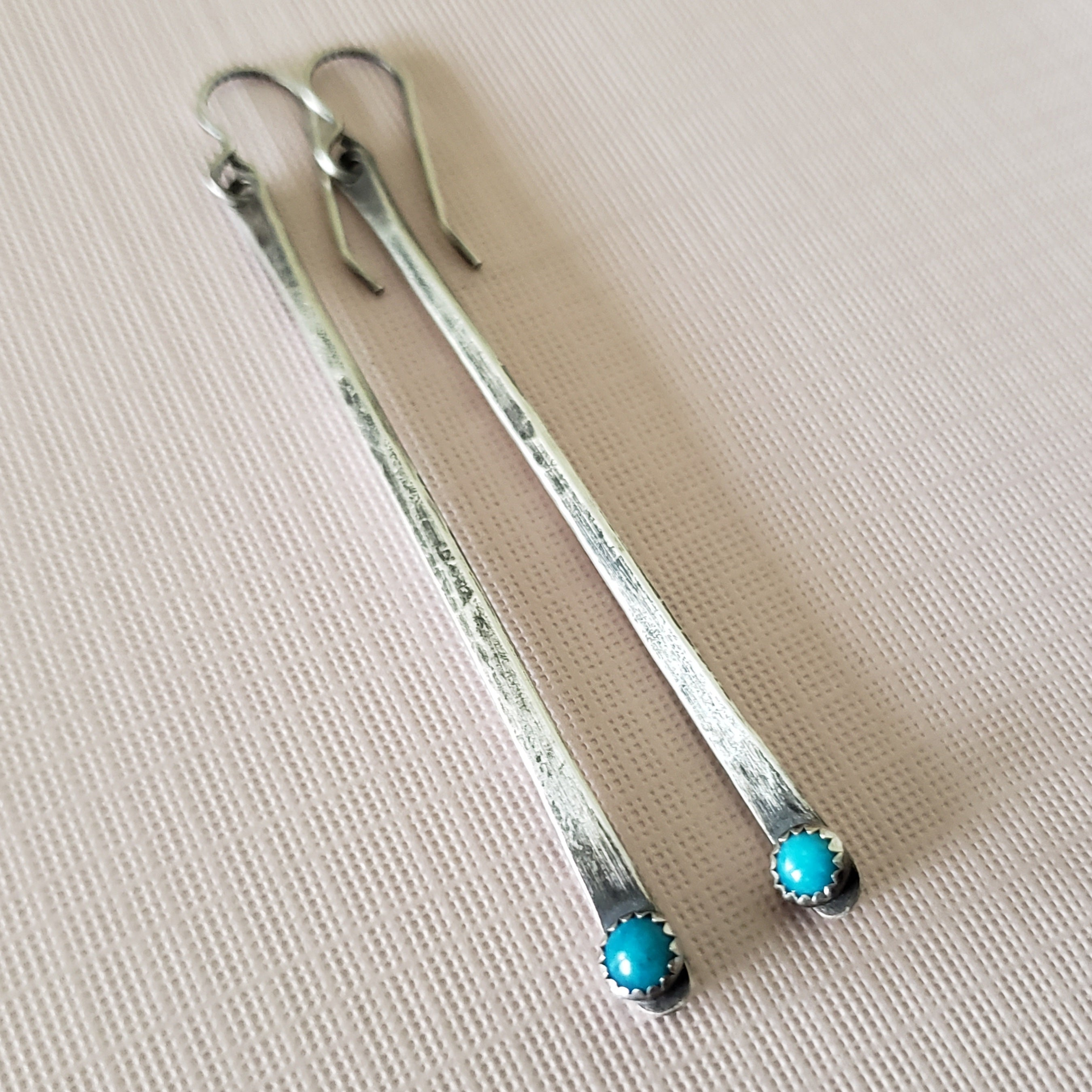 Long silver and turquoise bar earrings