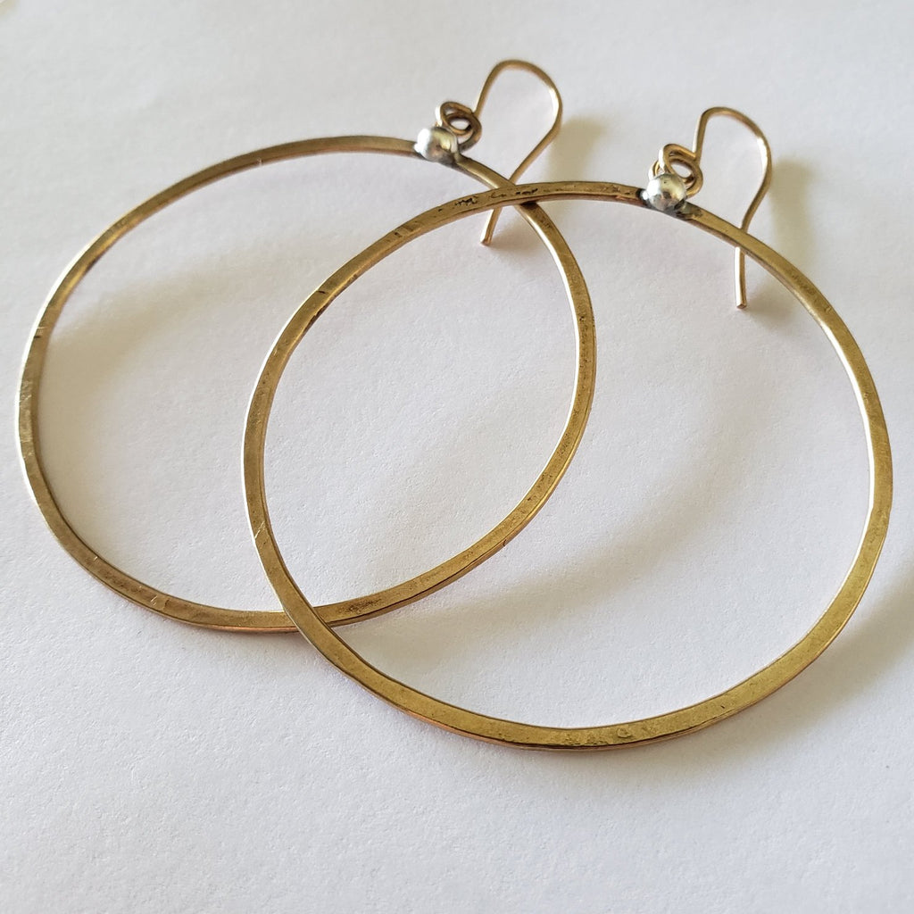 Large gold artisan hammered hoops