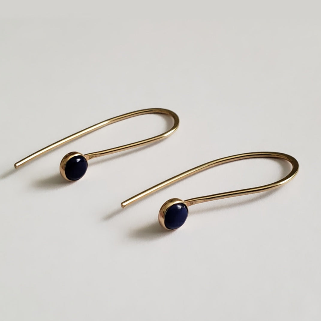 Golden & Blue lapis feed through earrings