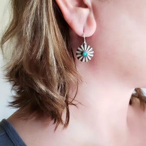 Western concho earrings with turquoise