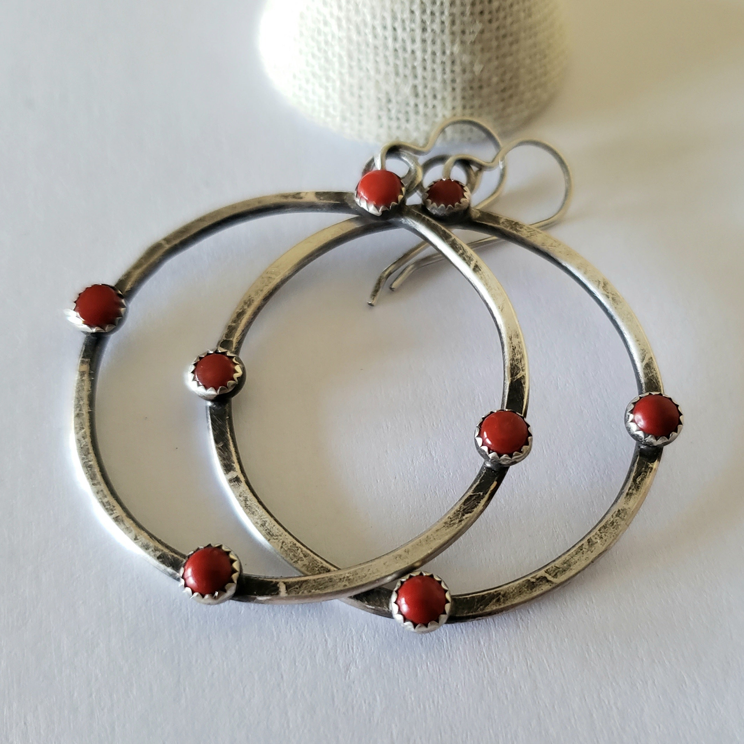 Next direction red coral hoop earrings