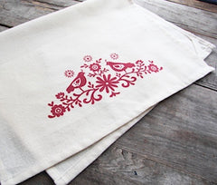 Folk Bird and Flower Tea Towel