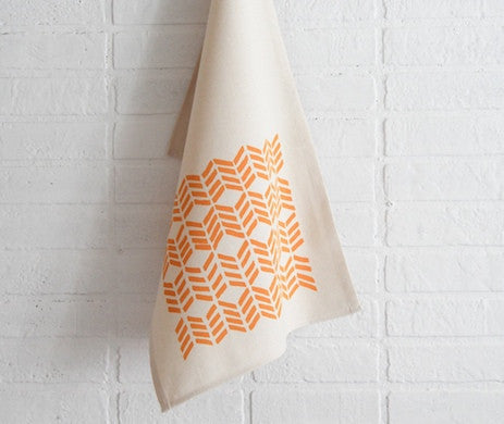 Golden Chevron Tea Towel