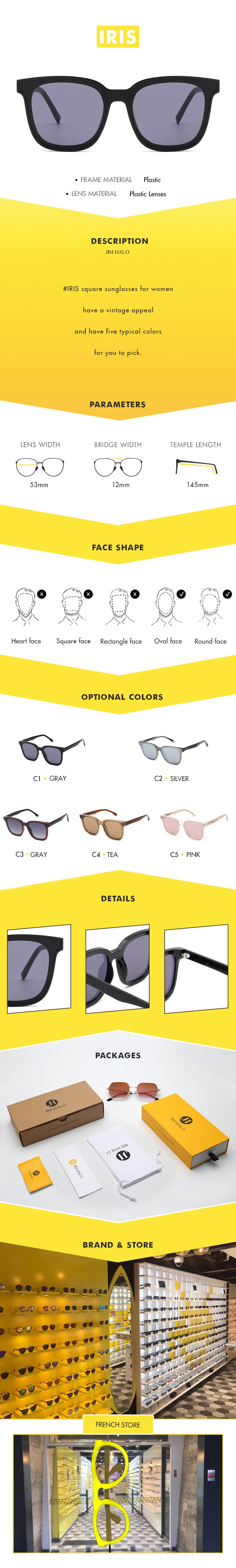 #IRIS square sunglasses for women have a vintage appeal and have five typical colors for you to pick.