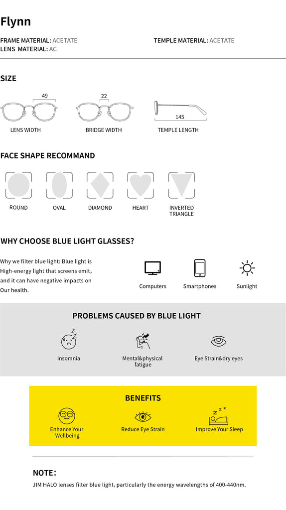Round blue light glasses| Flynn| Jim Halo