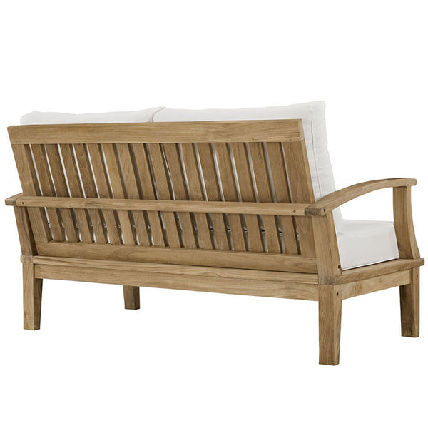 Marina Outdoor Patio Teak Loveseat In Natural White The