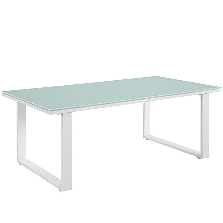 fortuna outdoor patio coffee table in white the modern source 3 brown set patio source outdoor