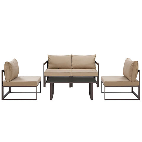 fortuna 5 piece outdoor patio sectional sofa set in brown mocha the modern source brown set patio source outdoor