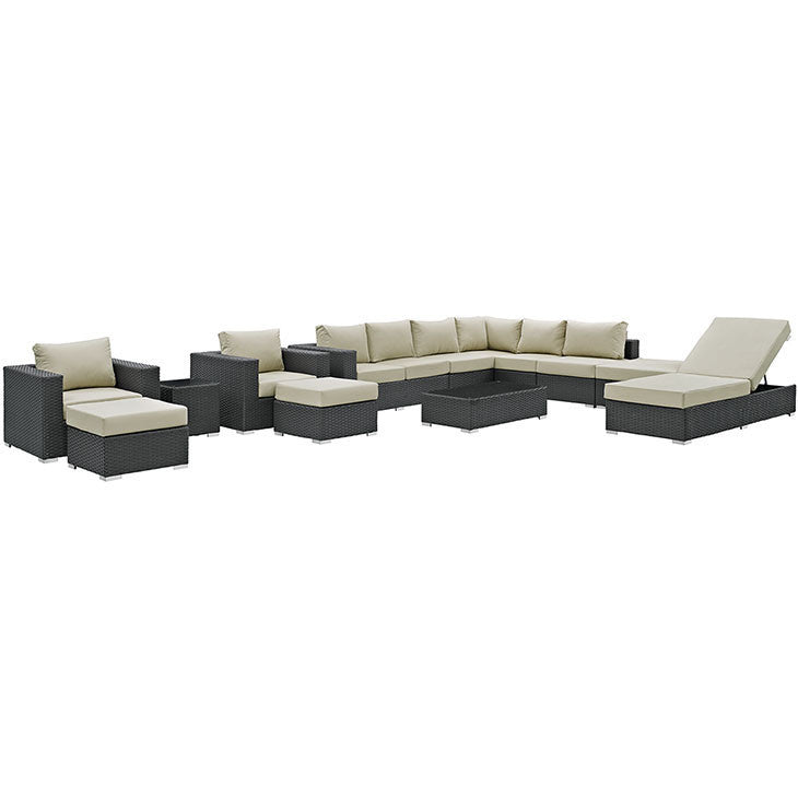 Tremendous Sojourn 12 Piece Outdoor Patio Sectional Set In Sunbrella Canvas Antique Beige Gmtry Best Dining Table And Chair Ideas Images Gmtryco