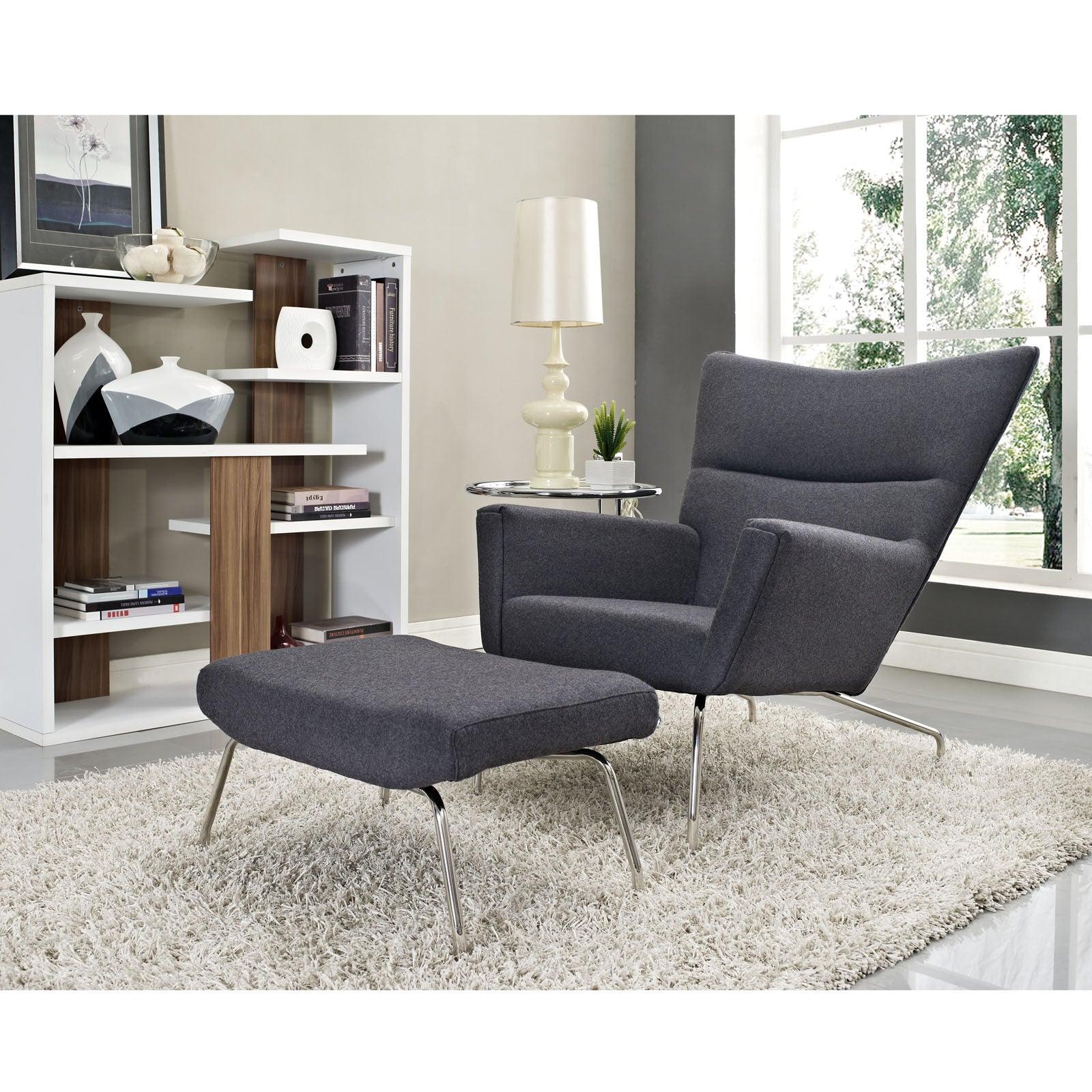 ... Hans Wegner Wing Chair U0026 Ottoman Reproductions   Fabric   The Modern  Source   9 ...