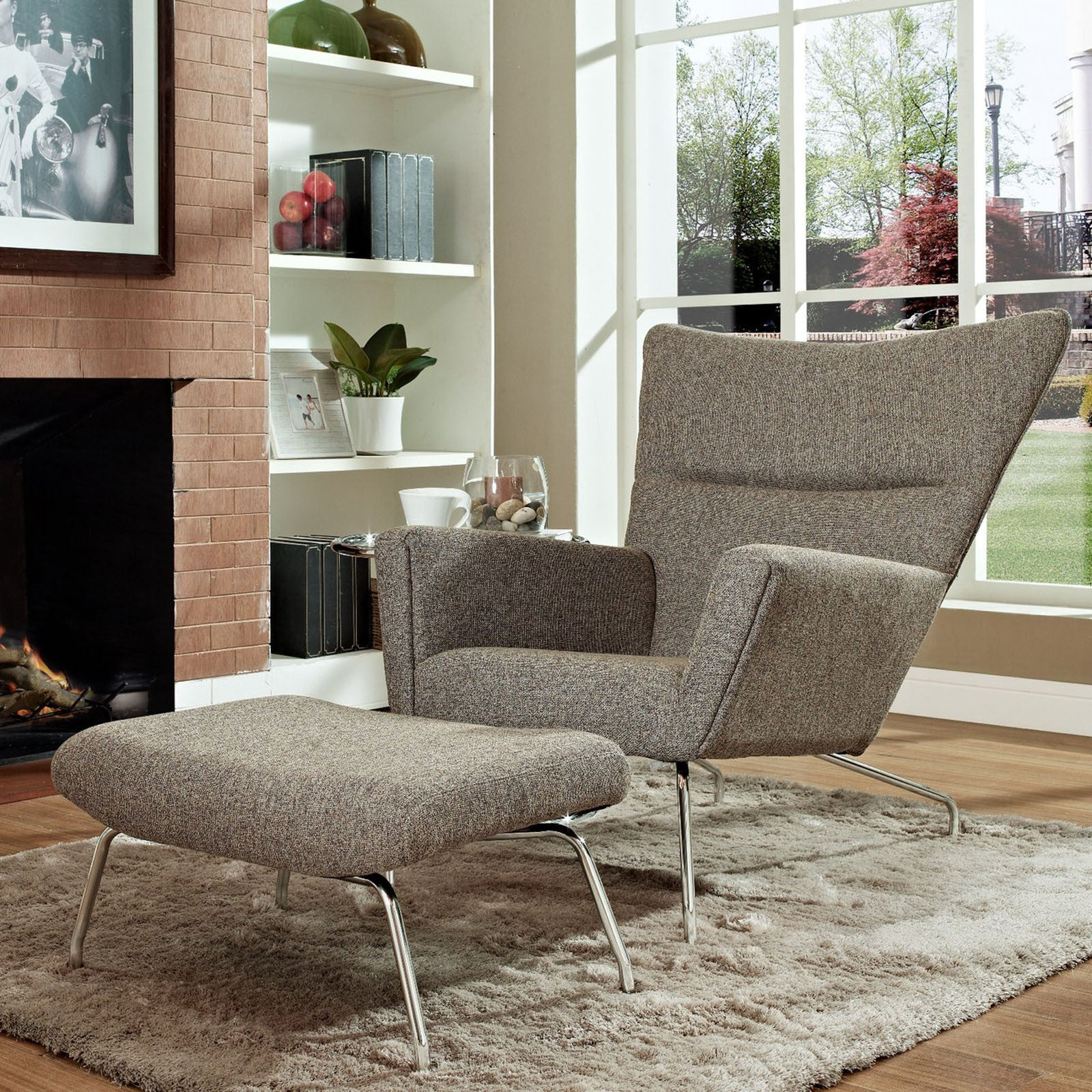 Hans Wegner Wing Chair & Ottoman reproductions Fabric The