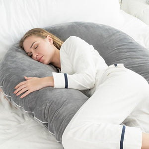 Luxury Long U Shaped Pregnancy Pillow (Gray)