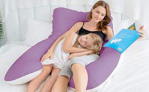 NEW-Classic U Shaped Pregnancy Pillow with Satin Cover (Purple and White)