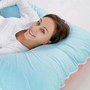 Classic U Shaped Pregnancy Pillow (Blue and Pink)