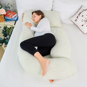 Luxury U Shaped Pregnancy Pillow (Bamboo Cover with Detachable Design)