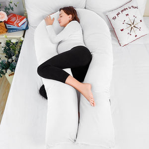 Luxury Long U Shaped  Pregnancy Pillow (White)