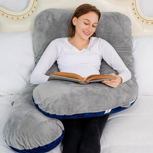 Classic U Shaped Pregnancy Pillow (Blue and Gray)
