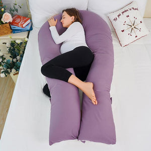 Luxury Long U Shaped Pregnancy Pillow with Satin Cover (Purple and White)